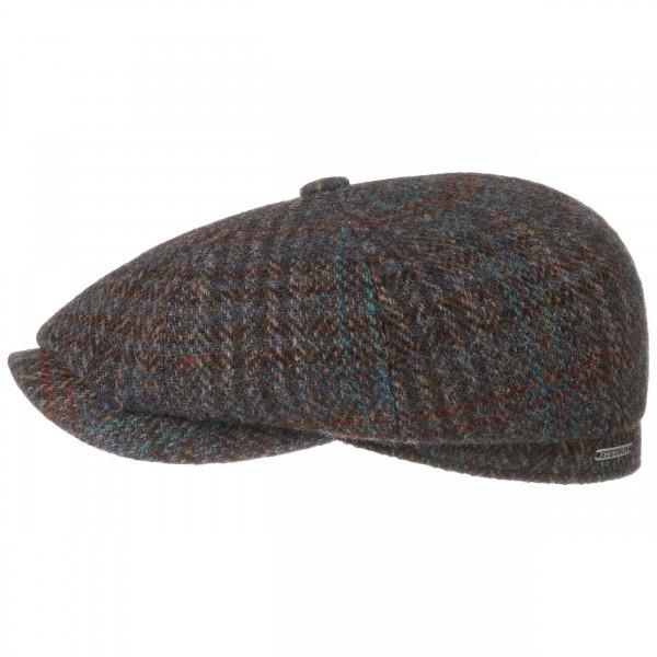 Stetson Hatteras Harris Tweed III Flatcap Blau-Meliert