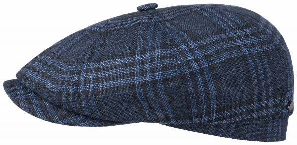 Stetson Hatteras Virgin Wool Silk Check Blau